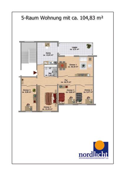 ... Grundriss 5 Raum Wohnung 104,83 Qm ...
